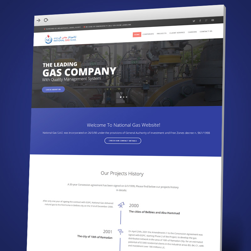 National Gas Website Design and Development